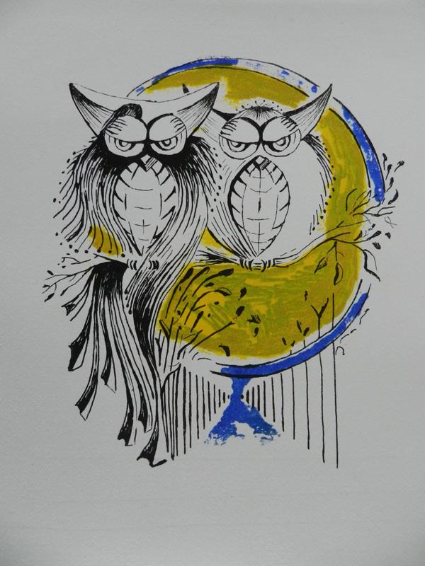 Verkochte kunstwerken. Het uilenbruidspaar. Twee uilen op een tak. Grafisch werk litho polyester.