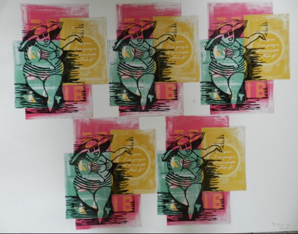 Verkocht grafisch werk Lady Fuck off. Lino en collage.