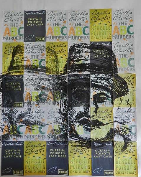 litho polyester met collage, De never ending carreer van Poirot