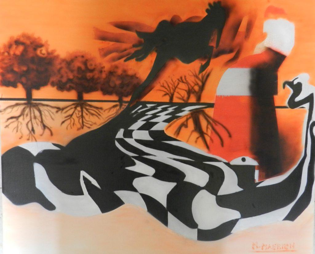 Airbrush schilderij Life is like playing chess, is te koop. Moderne kunst.