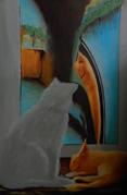 Kat met gedragsstoornis. Wat te doen? Alle poezen gaan naar de hemel. Olieverfschilderij van Mady Maeriën.